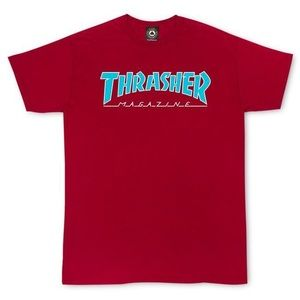 thrasher mag outlined red t shirt